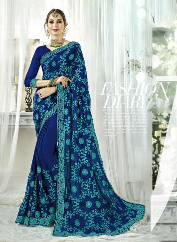 Fancy Georgette Saree In Royal Blue Color