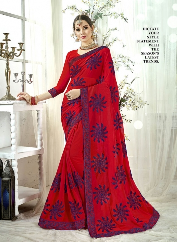 Fancy Georgette Saree In Red Color Paired With Red Colored Blouse