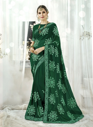 Fancy Georgette Saree In Dark Green Color