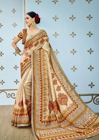 Designer Saree With Pretty Digital Prints All Over