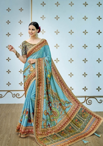 Designer Saree And Blouse Are Fabricated On Banarasi Art Silk Beautified With Prints And Stone Work
