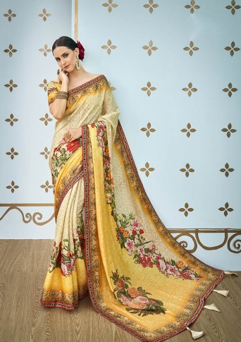 Designer Saree Fabricated On Banarasi Art Silk Beautified With Prints And Stone Work In Cream & Yellow Colour