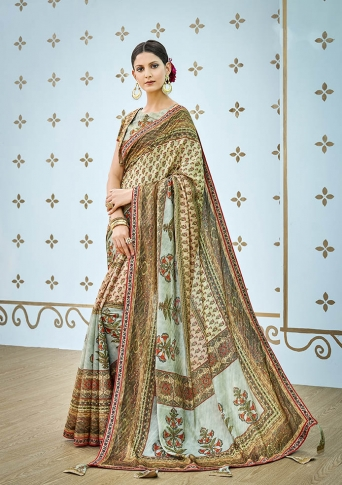 Designer Saree Fabricated On Banarasi Art Silk Beautified With Prints And Stone Work In Multi Colour