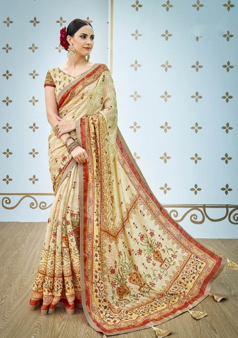 Designer Saree Fabricated On Banarasi Art Silk Beautified With Prints And Stone Work In Cream Colour