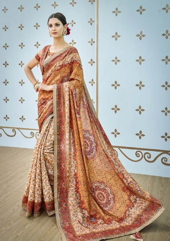 Designer Saree Fabricated On Banarasi Art Silk Beautified With Prints And Stone Work In Orange & Cream Colour