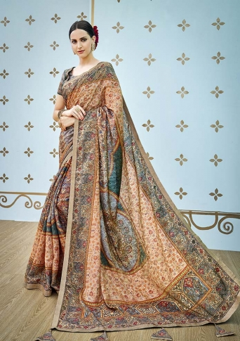 Designer Saree Fabricated On Banarasi Art Silk Beautified With Prints And Stone Work In Multi Coloured