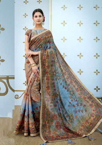 Designer Saree Fabricated On Banarasi Art Silk Beautified With Prints And Stone Work In Multi