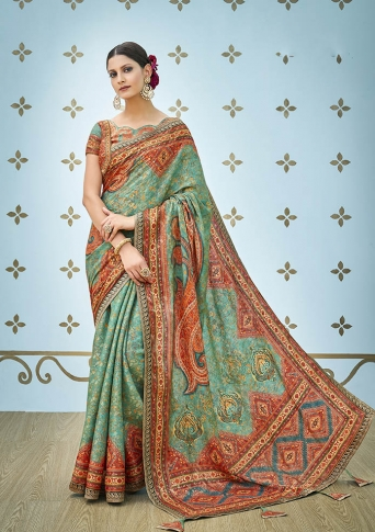 Designer Saree Fabricated On Banarasi Art Silk Beautified With Prints And Stone Work In Sea Green Colour