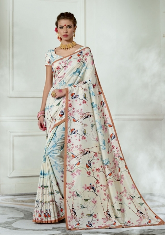 Designer Tussar Silk based Saree Beautified With Prints On White Colour