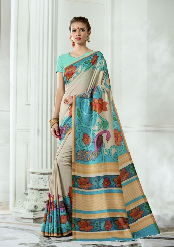 Designer Tussar Silk based Saree Beautified With Prints On Cream & Blue Colour