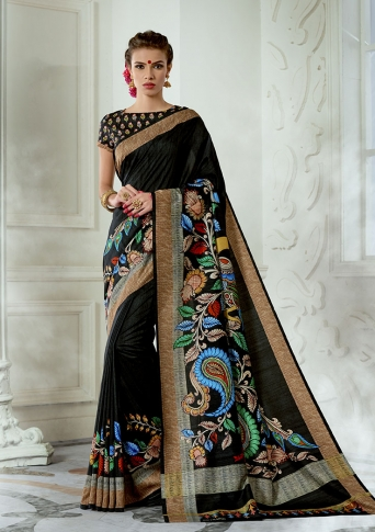 Designer Tussar Silk based Saree Beautified With Prints On Black Colour