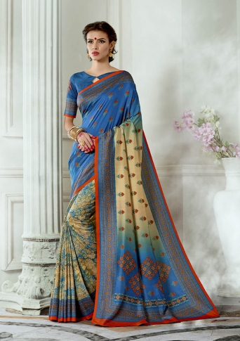 Designer Tussar Silk based Saree Beautified With Prints On Blue & Cream Colour