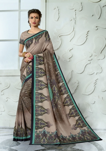 Designer Tussar Silk based Saree Beautified With Prints On Sand Grey Colour