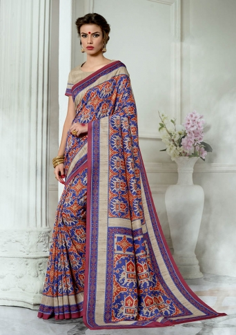 Designer Tussar Silk based Saree Beautified With Prints On Blue & Red Colour