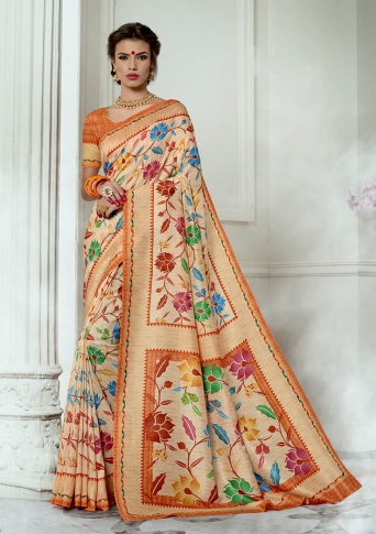 Designer Tussar Silk based Saree Beautified With Prints On Light Orange Colour