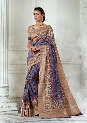 Designer Tussar Silk based Saree Beautified With Prints On Violet & Beige Colour