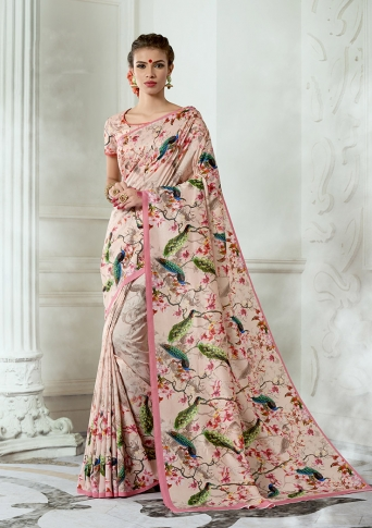 Designer Tussar Silk based Saree Beautified With Prints On Baby Pink Colour