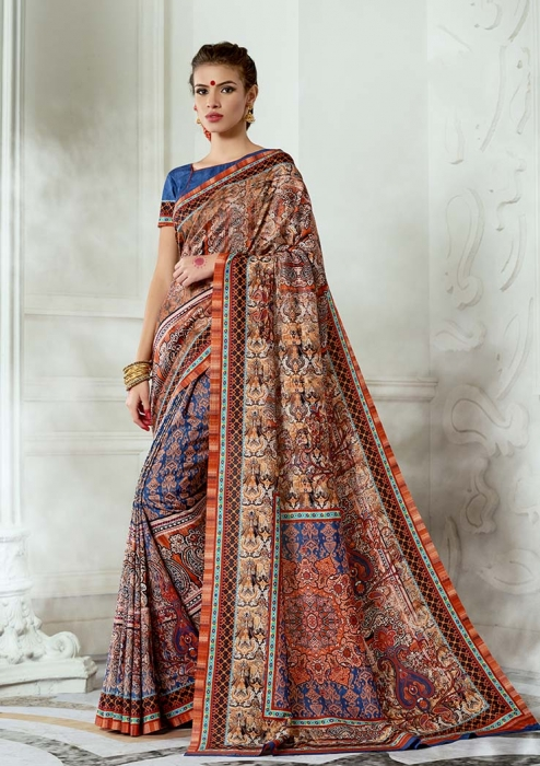 Designer Tussar Silk based Saree Beautified With Prints On Multicolour