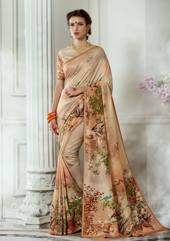 Designer Tussar Silk based Saree Beautified With Prints On Cream Colour