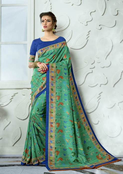Designer Tussar Silk based Saree Beautified With Prints On Sea Green Colour