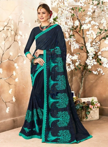 Georgette Saree In Navy Blue Color Paired With Navy Blue Colored Blouse