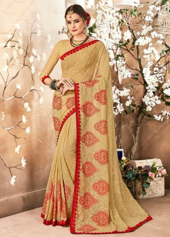 Georgette Saree In Beige Color Paired With Beige Colored Blouse