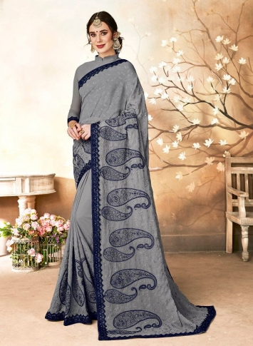 Georgette Saree In Grey Color Paired With Grey Colored Blouse