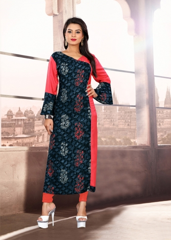 Navy Blue & Pink Coloured Cotton Kurti