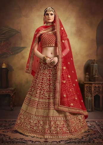 Red Colour Heavy Embroidered Lehenga And Choli Are Fabricated On Velvet Paired With Net Fabricated Dupatta