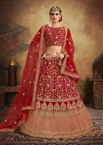Heavy Designer Lehenga Choli In All Over Red Color On Velvet 0