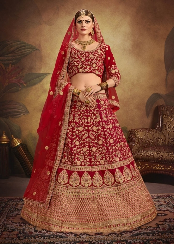 Heavy Designer Lehenga Choli In All Over Red Colored On Velvet