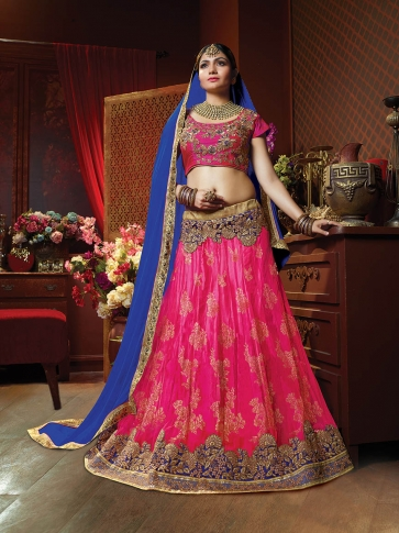 Rani Pink Colour Designer Lehenga Choli On Jacquard Net
