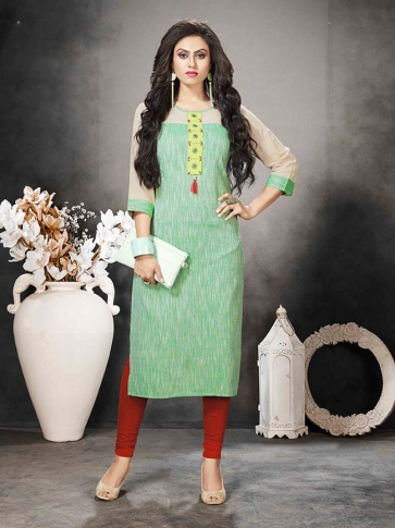 Green Colour Casual Wear Kurti In Hand Span Cotton