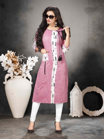Pink Colour Casual Wear Kurti In Hand Span Cotton