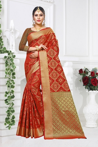 Red Patola Art Silk Saree With Blouse Fabric