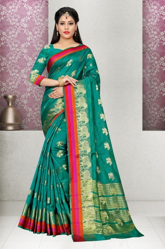 Teal Green Cotton Silk Saree With Blouse Fabric