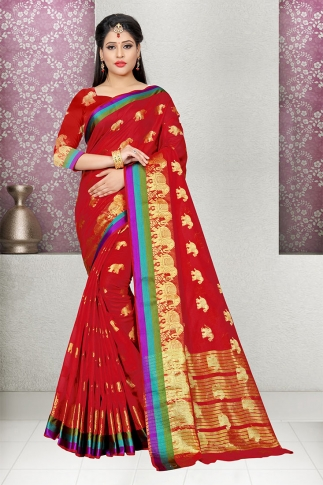 Red Cotton Silk Saree With Blouse Fabric