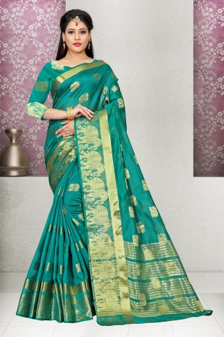 Sea Green Cotton Silk Saree And Blouse Fabric