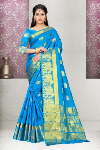 Blue Cotton Silk Saree And Blouse Fabric