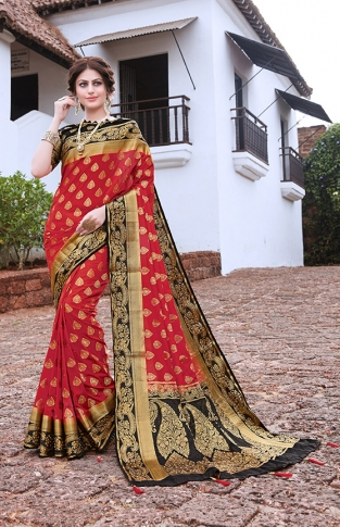 Red Nylon Art Silk Saree With Blouse Fabric