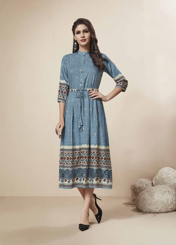 Readymade Kurti In Blue Color Fabricated On Rayon