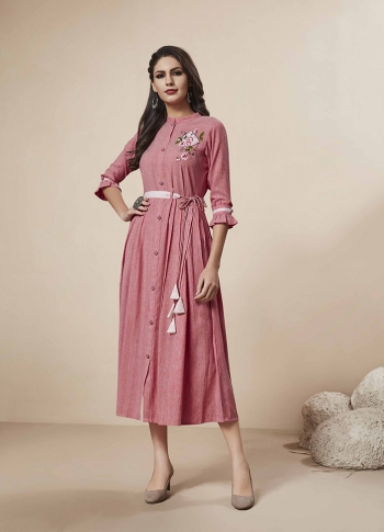 Readymade Kurti In Pink Color Fabricated On Rayon