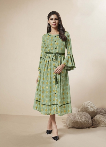 Readymade Kurti In Light Green Color Fabricated On Rayon