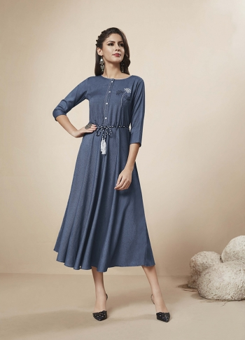 Readymade Kurti In Dark Blue Color Fabricated On Rayon 0