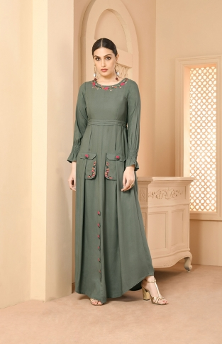 Teal Grey Designer Readymade Long Kurti Fabricated On Rayon