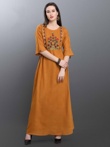 Designer Readymade Long Kurti In Musturd Yellow Color Fabricated On Cotton Blend 0