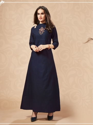Designer Readymade Long Kurti In Navy Blue Color Fabricated On Cotton Blend