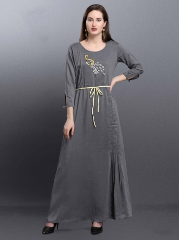 Designer Readymade Long Kurti In Grey Color Fabricated On Muslin 0