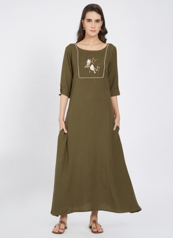 Designer Readymade Long Kurti In Olive Green Color Fabricated On Linen