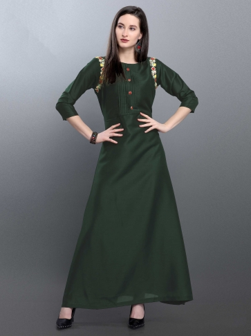 Designer Readymade Long Kurti In Forest Green Color Fabricated On Muslin
